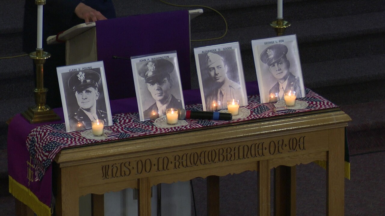 "Great Falls service pays tribute to the ""Four Chaplains"" of WWII"