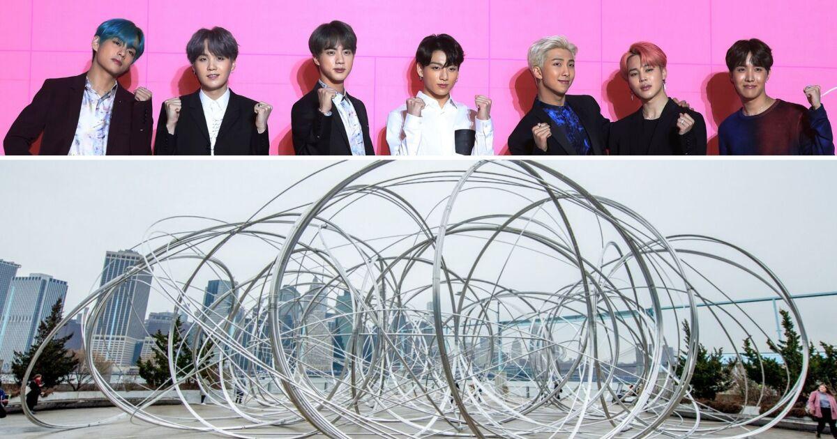 Korean group BTS bring massive metal art installation to Brooklyn Bridge Park