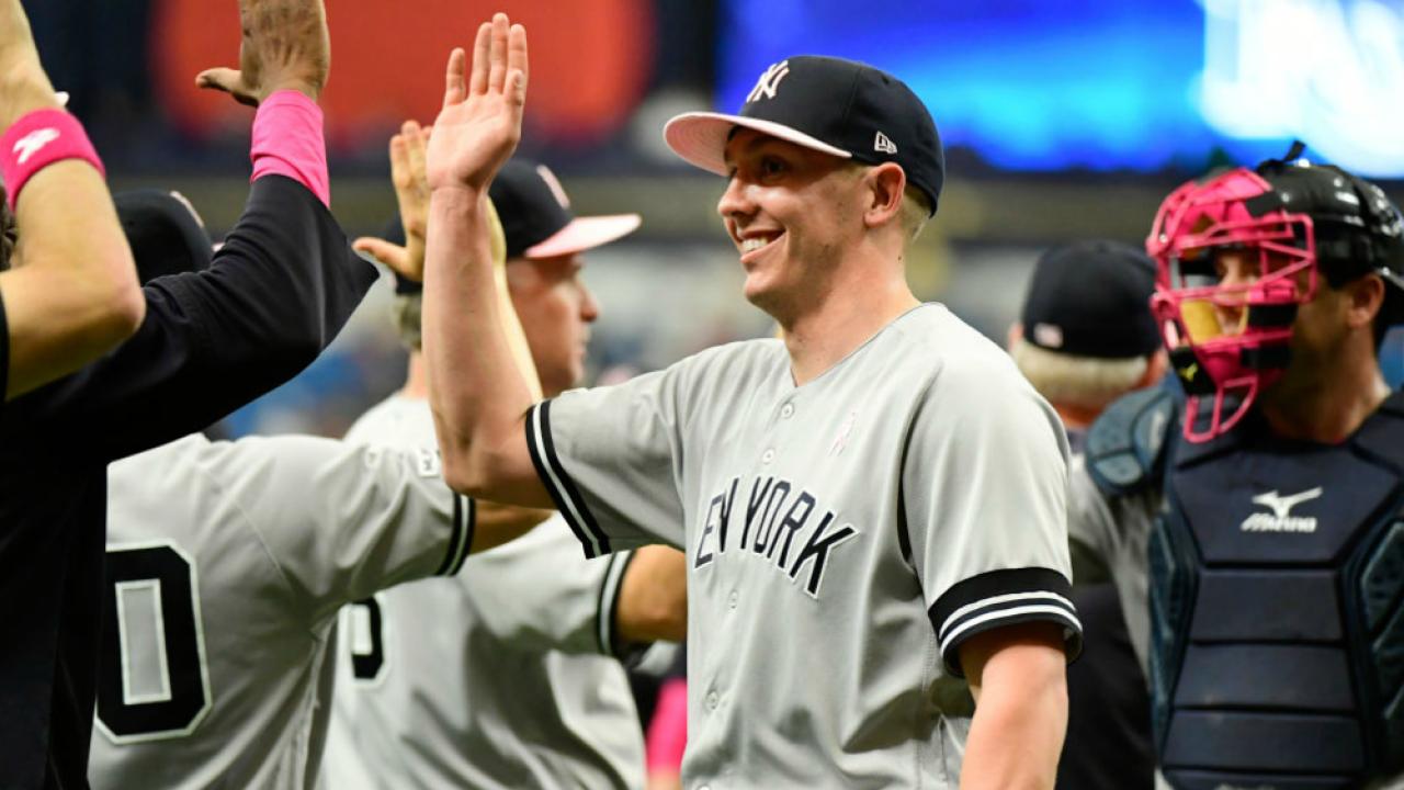 Yankees celebrate win May 12 2019