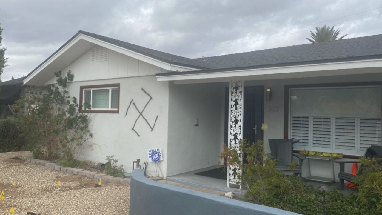 Phoenix home spray-painted with swastika