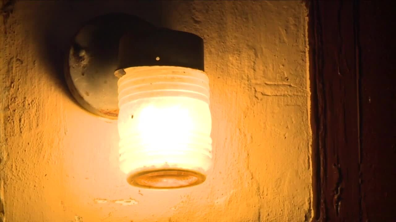 Exterior light outside Jose Carasquillo's home in Fort Pierce