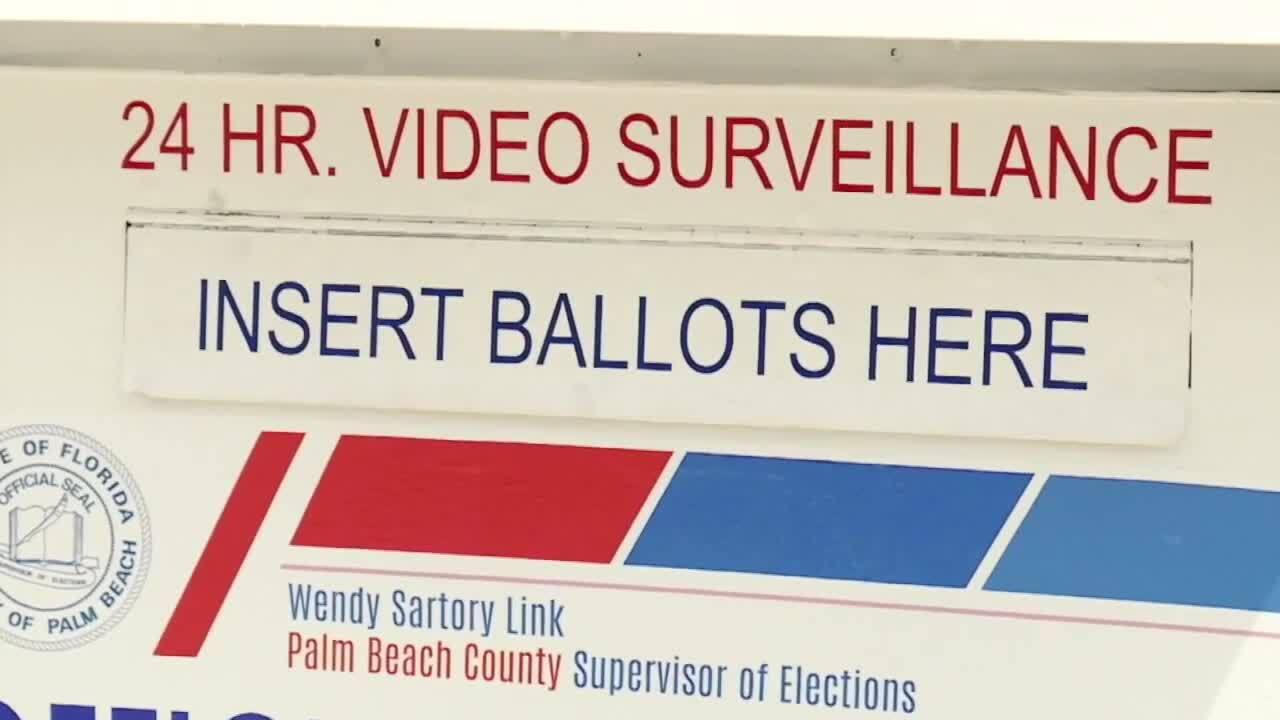 'Insert Ballots Here' message on Palm Beach County ballot box