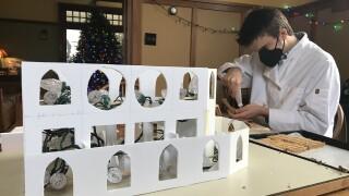 Joel Kiernan builds gingerbread cathedral