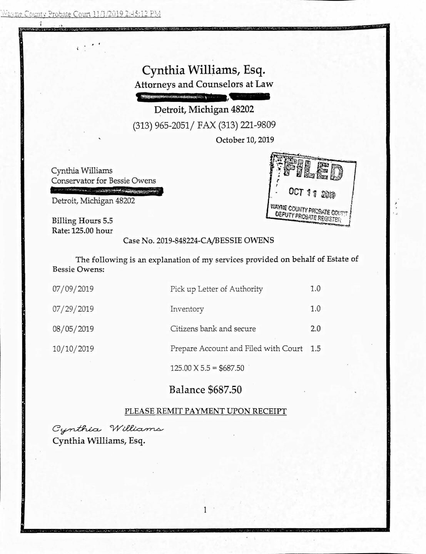 Conservator bill for Bessie Owens