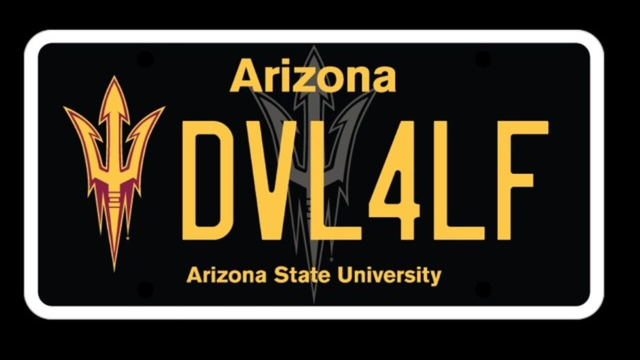 Arizona State unveils new customizable pitchfork license plate