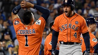 George Springer #4 of the Houston Astros won the 2017 Willie Mays World Series Most Valuable Player Award.jpg