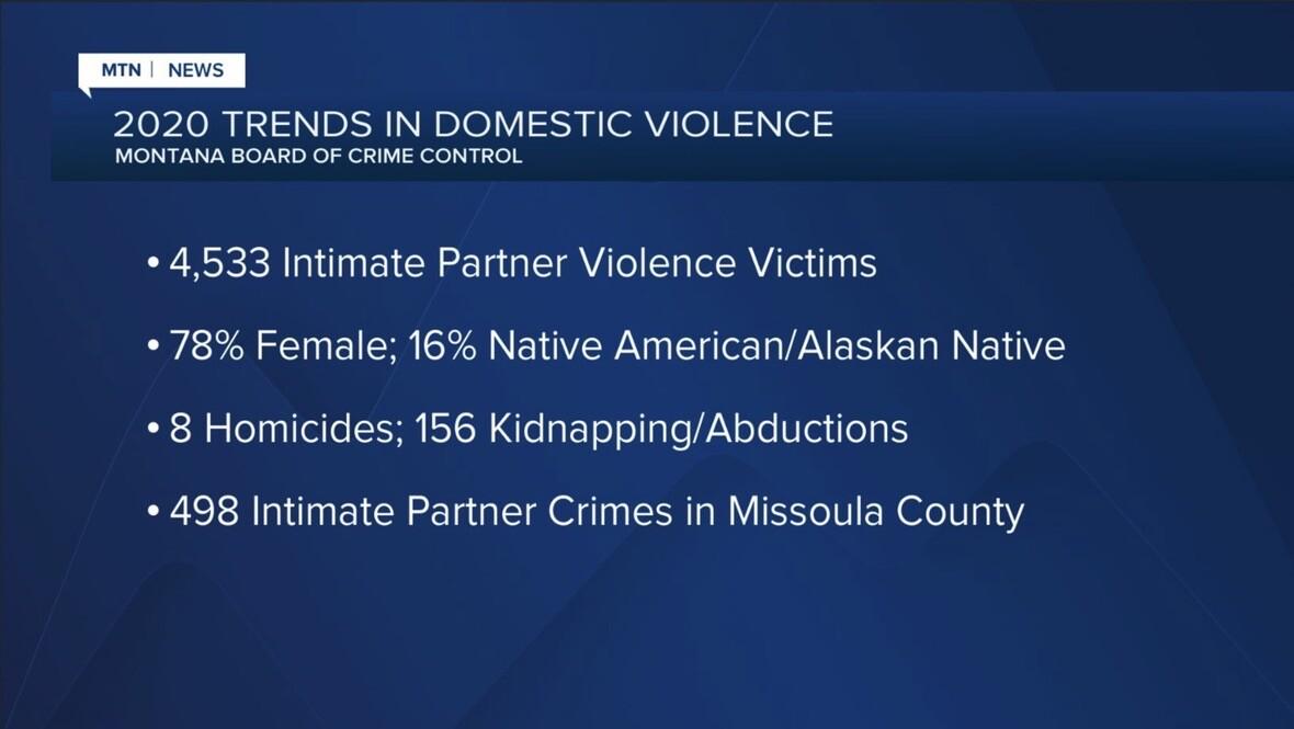 Montana Board of Crime Control 2020 domestic violence stats