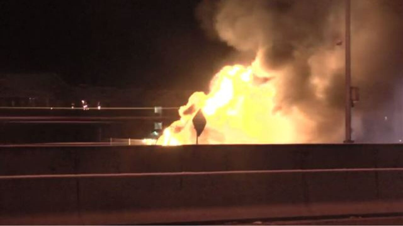 Truck catches fire on I-25 at Belleview