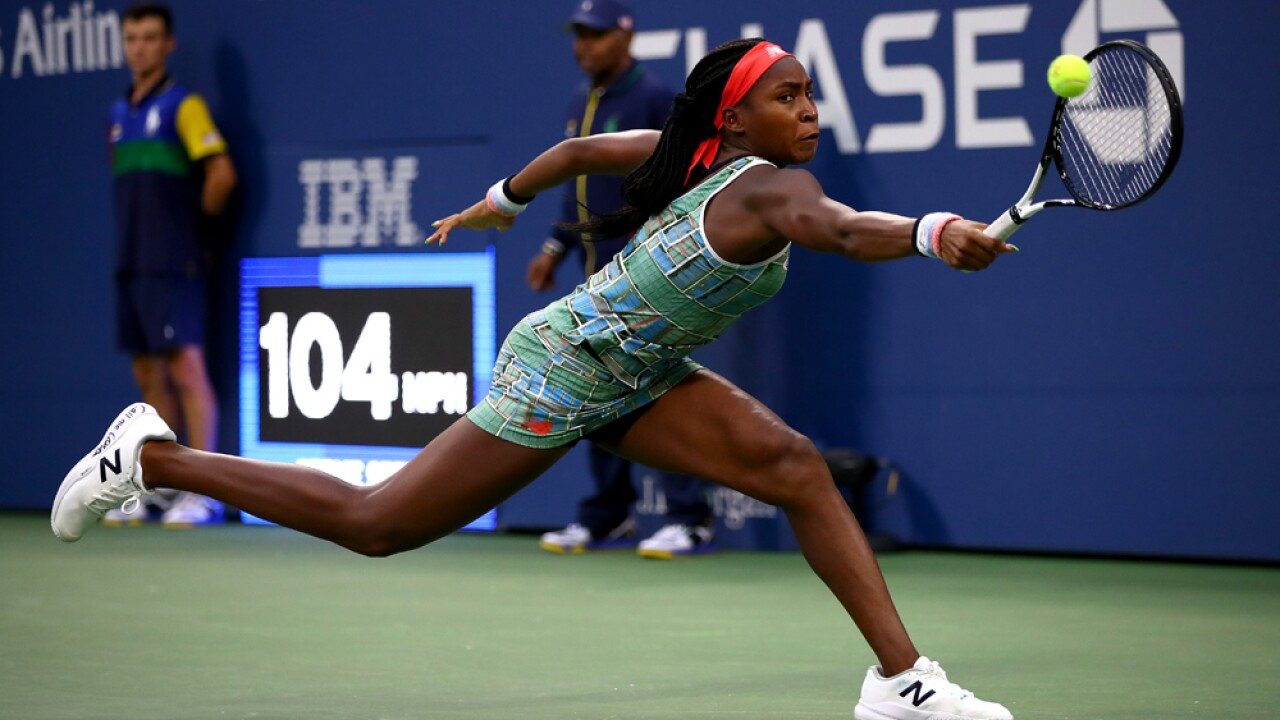 Cori Gauff of the United States returns a shot against Anastasia Potapova of Russia during their Women's Singles first round match on day two of the 2019 US Open at the USTA Billie Jean King National Tennis Center on August 27, 2019 in the Flushing neighborhood of the Queens borough of New York City.