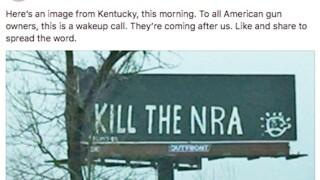 ce0ebee067 Billboard vandalized to read  Kill the NRA