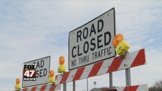 Westbound Michigan Avenue road work