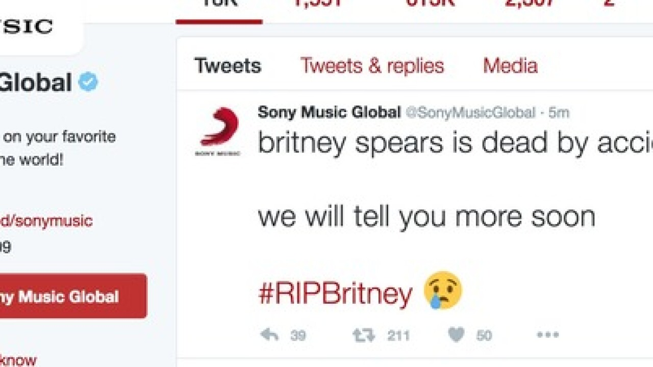 Britney Spears victimized by Twitter hoax claiming she had died