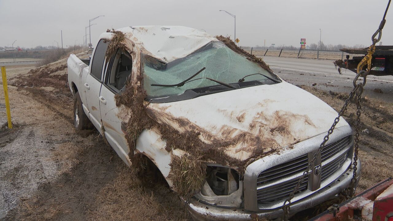 Truck wrecks on icy I-24