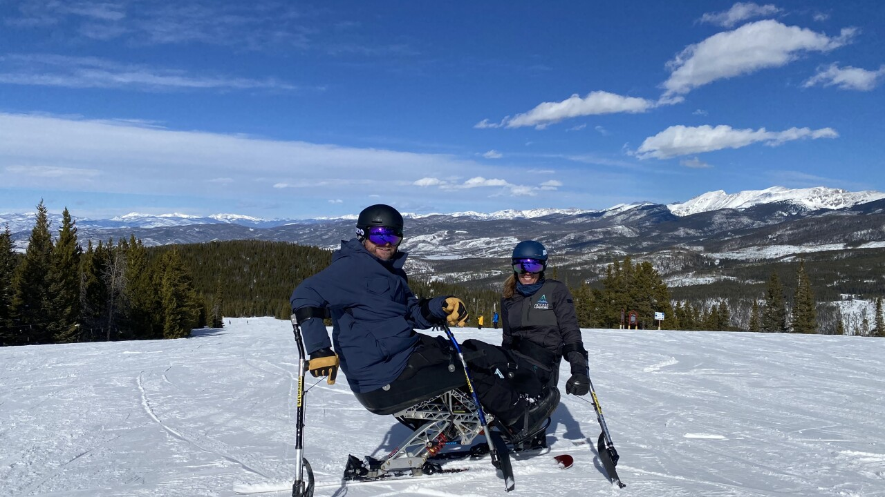 Jane Sowerby and Mark Urich on their new monoskis