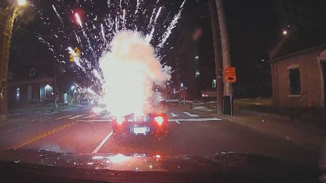Colin Kirby firework hits convertible