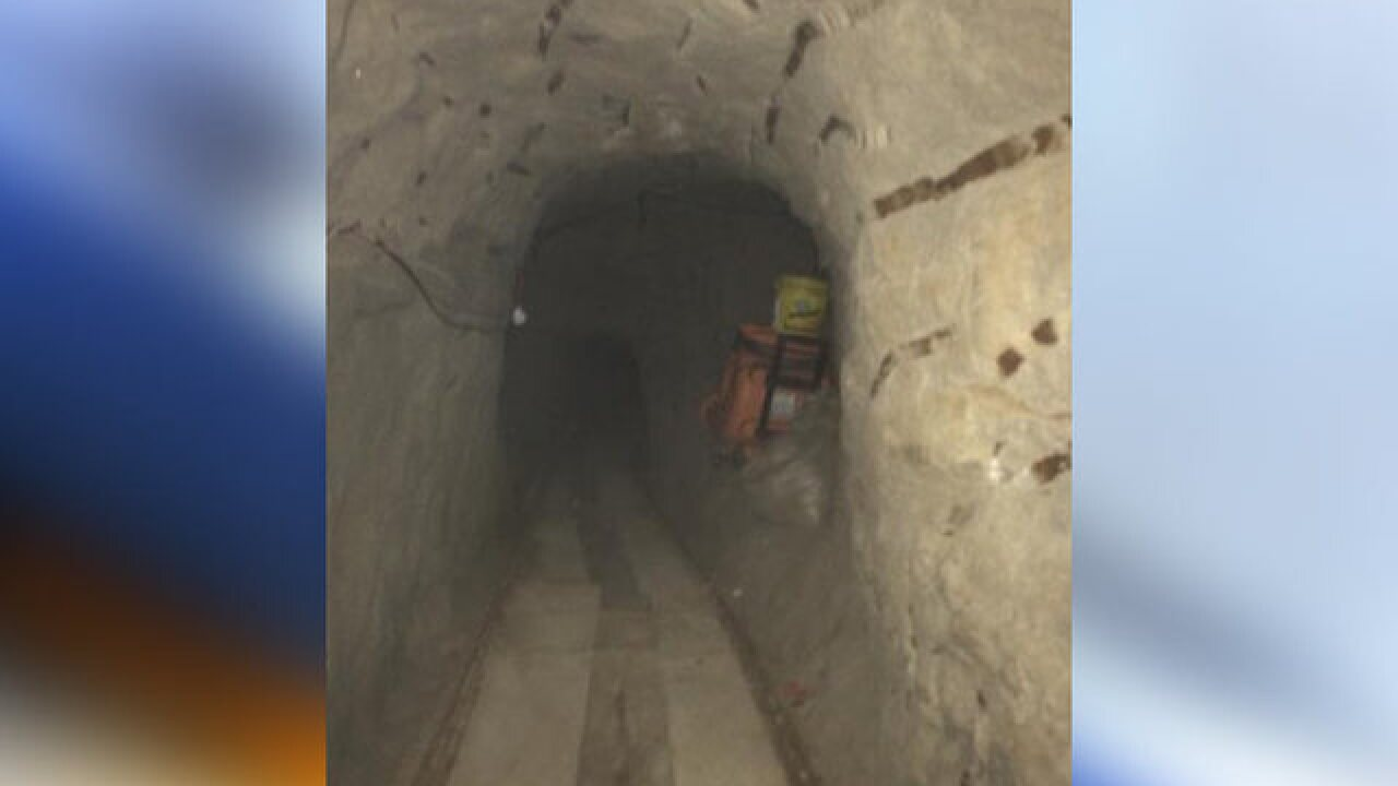 Drug tunnel equipped with rail system, elevator
