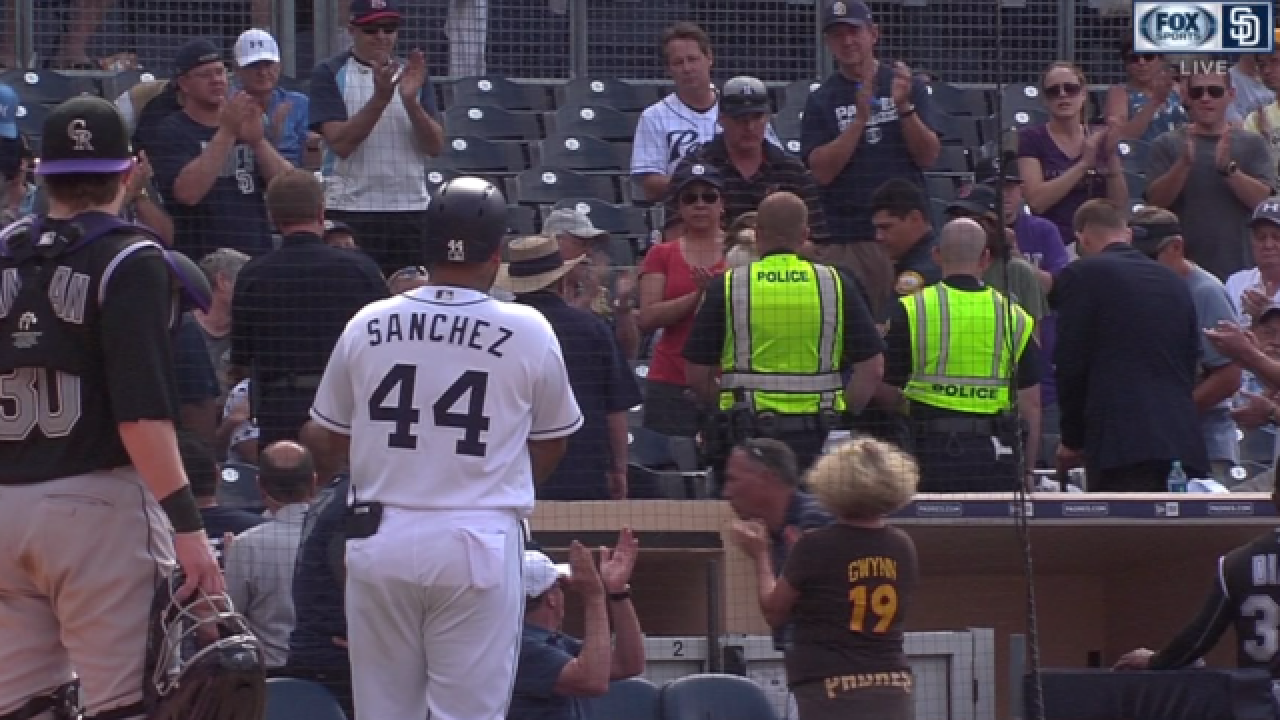 Fans hit by wild baseball bat during Padres game