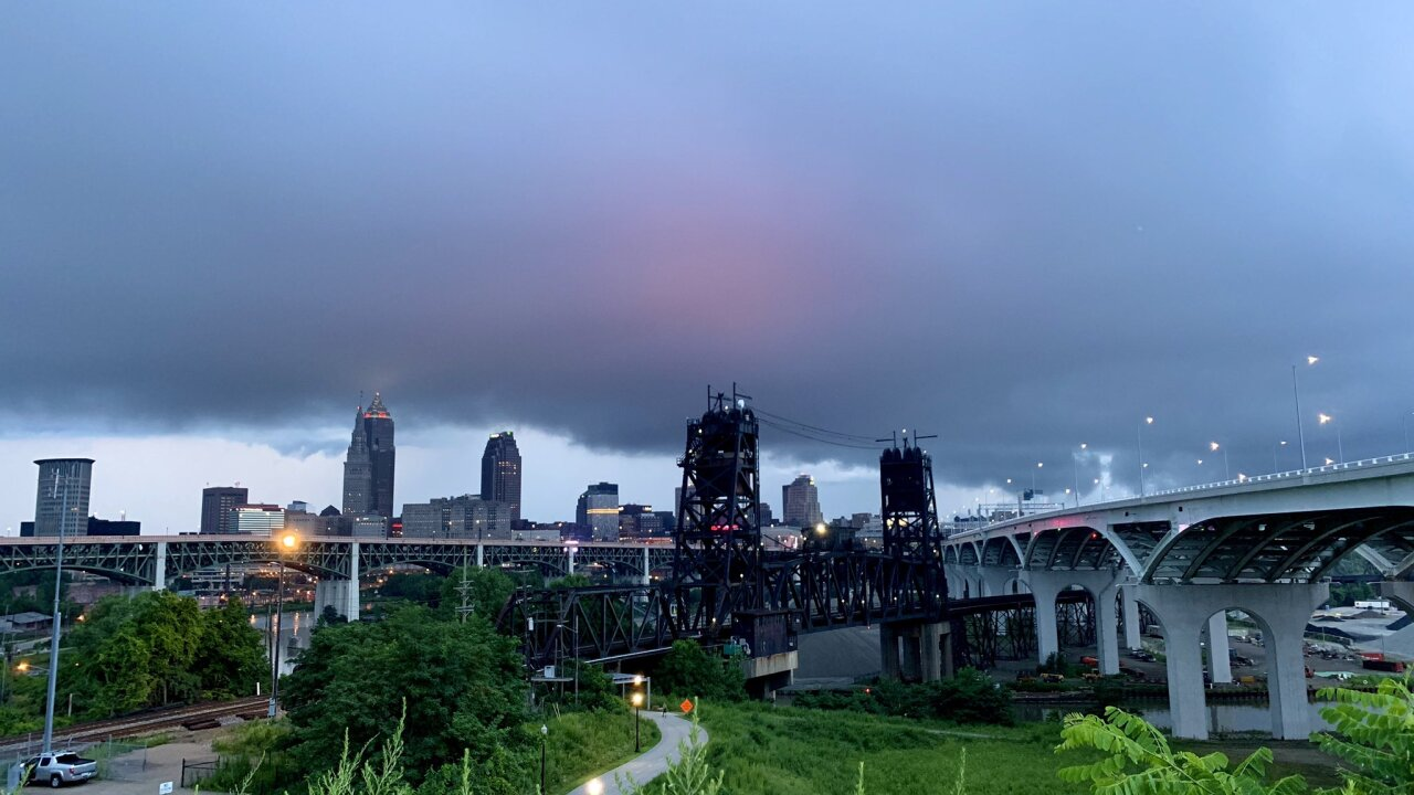 Storms building over Cleveland on Tuesday.