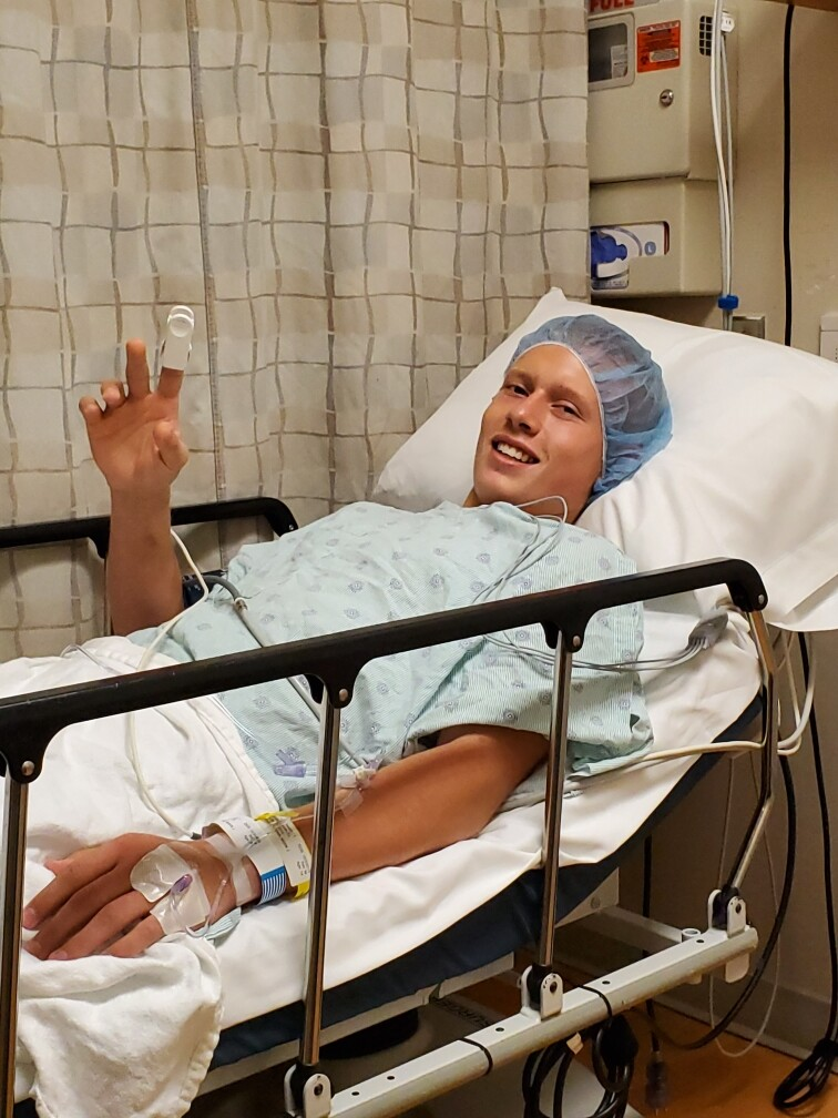 Sam Jager prepares for surgery