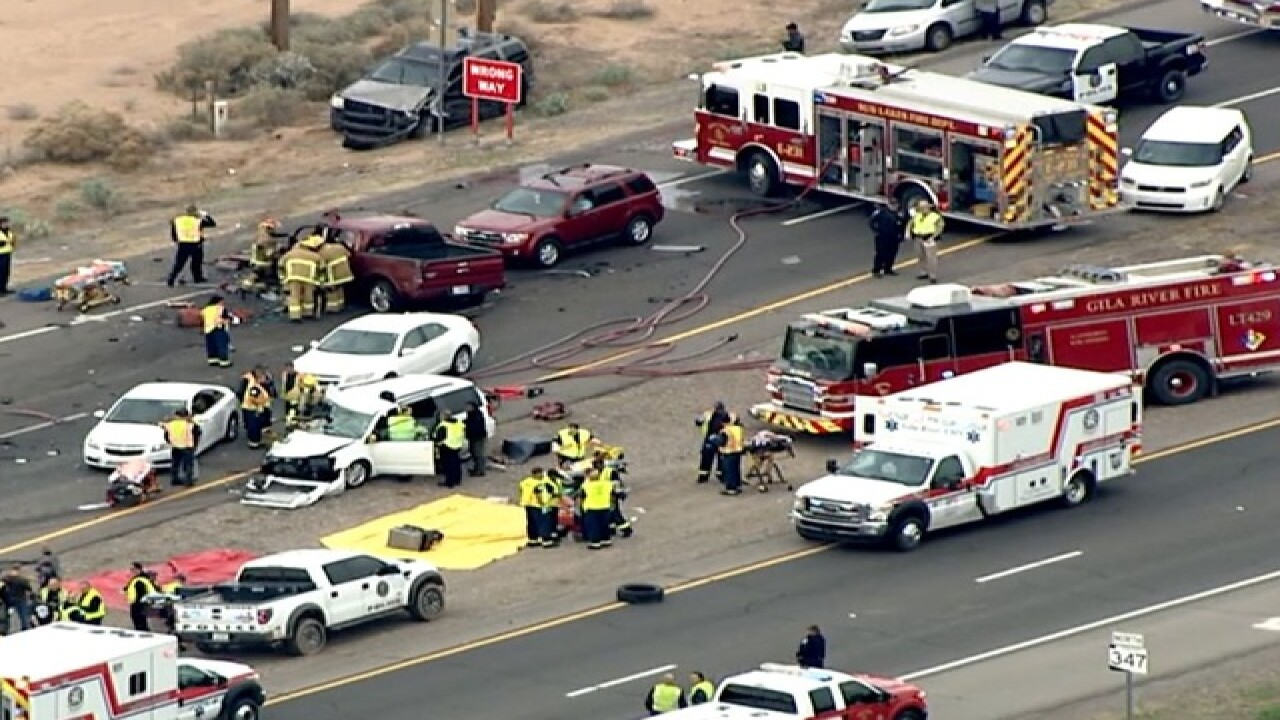 FD: 1 killed, 15 others injured in 10-car wreck on State Route 347
