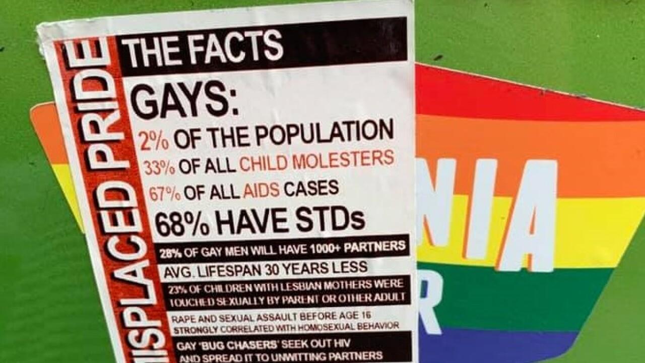 Anti-LGBTQ sticker pops up on back of car in Norfolk, covering gay pridesticker