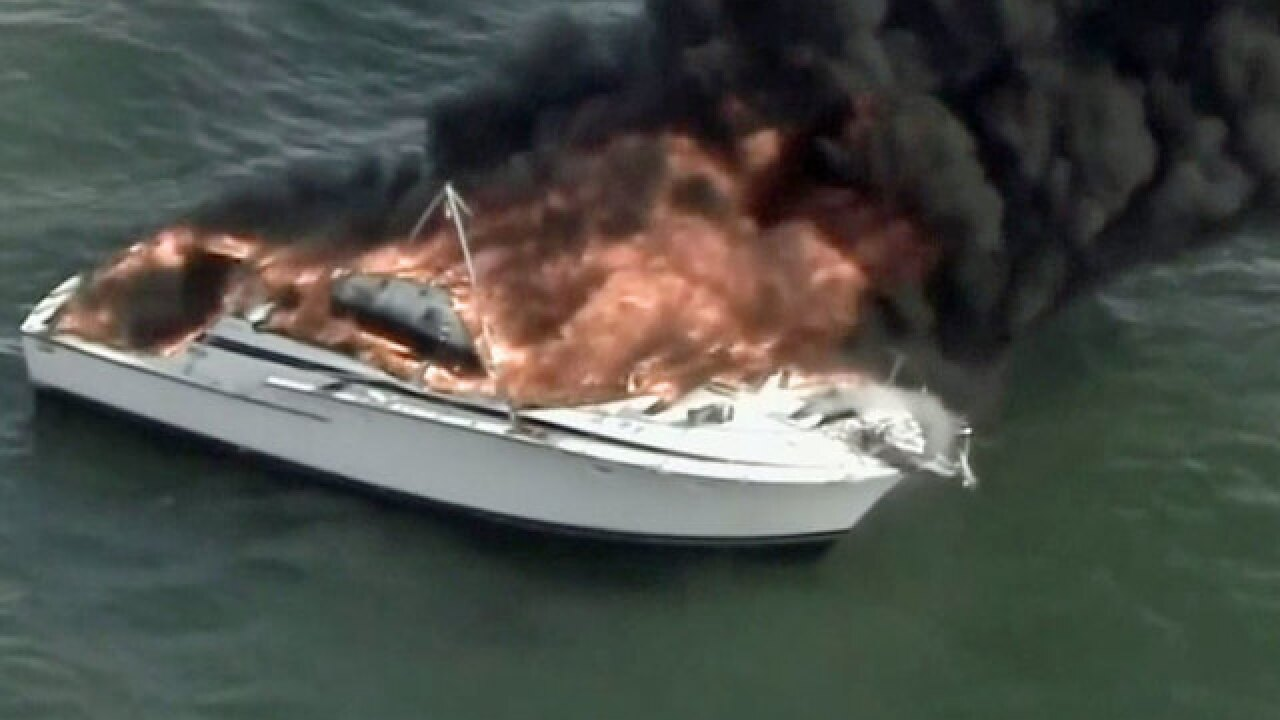 Boat catches fire off Biscayne Bay