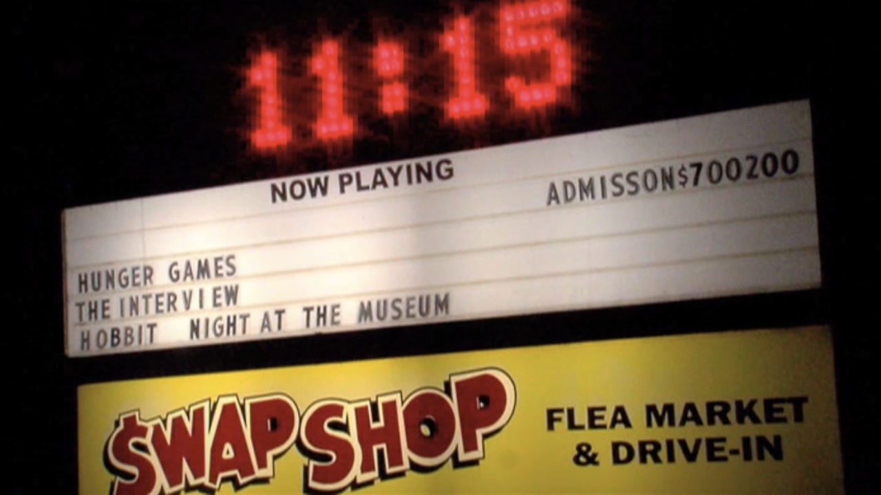 Swap Shop 'Now Playing' sign circa 2014