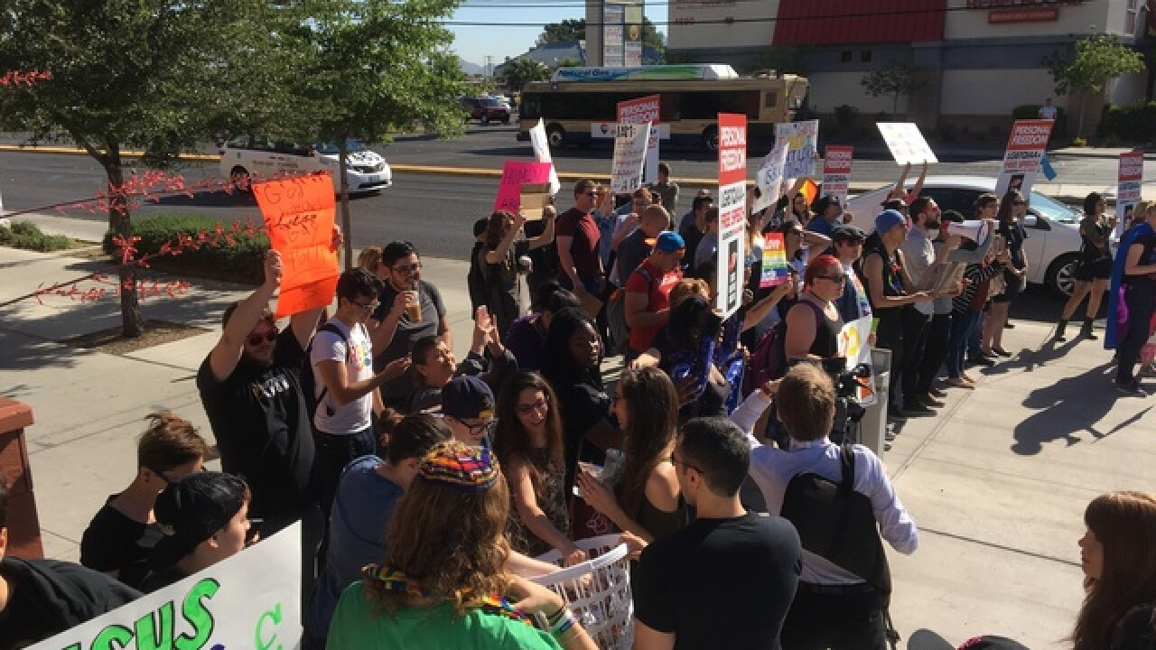 Anti-Gay protest outside of Rancho High School