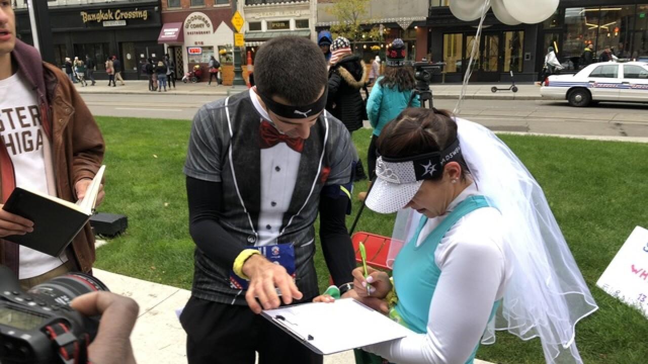 Couple weds halfway through Freep marathon