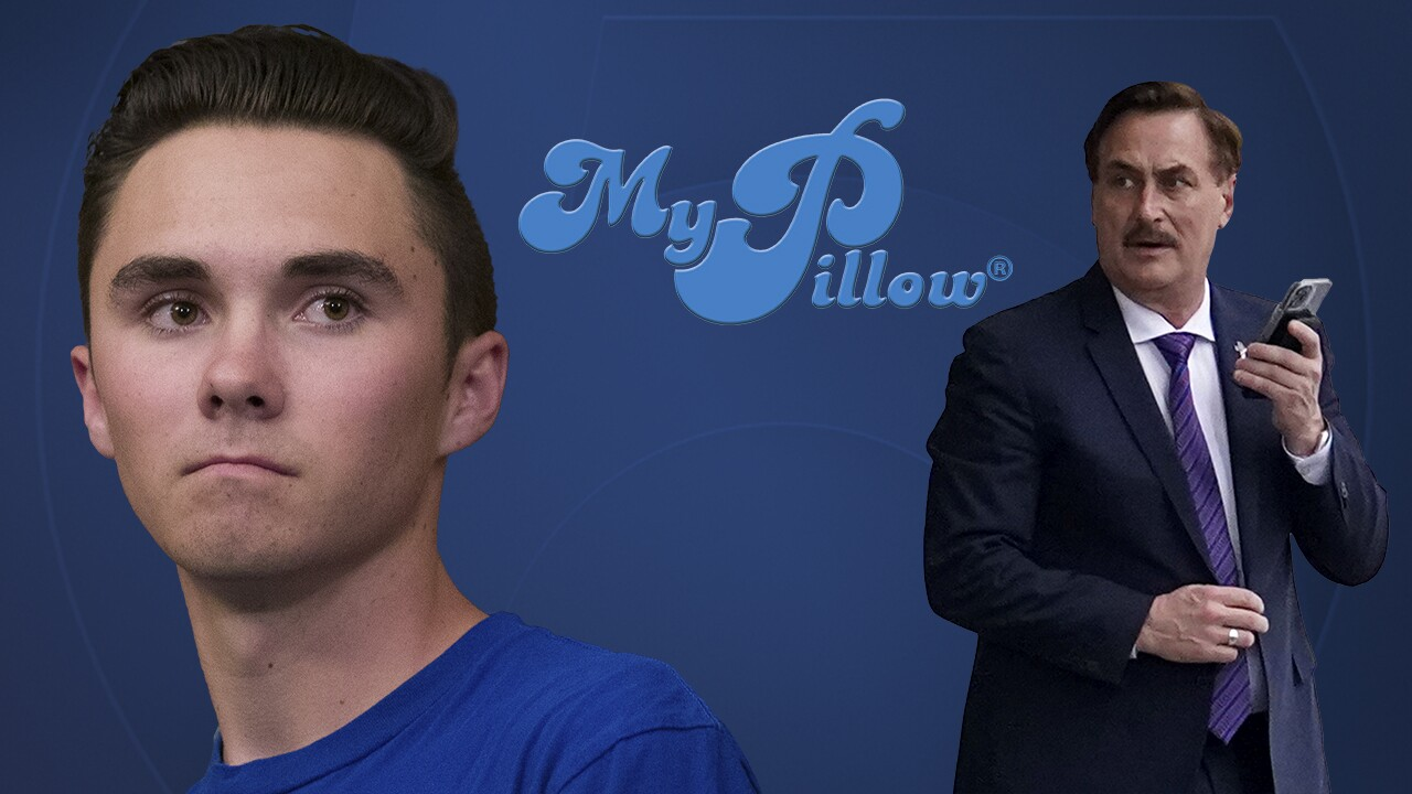 David Hogg MyPillow Mike Lindell composite