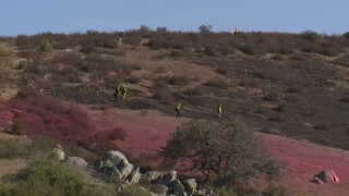 Cal Fire battles brush fire in Ramona