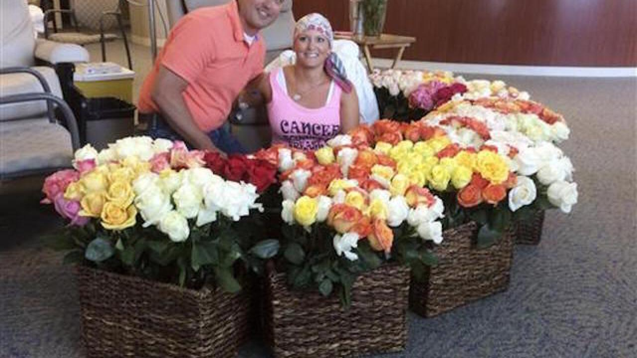 Husband surprises wife with 500 roses after chemo treatment