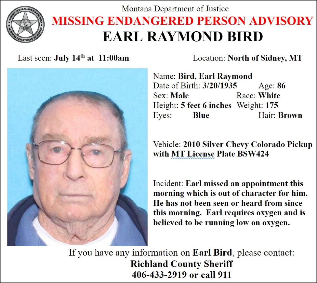 Missing-Endangered Person Advisory for 86-year old Earl Raymond Bird