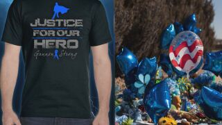 Left to right: T-shirt designed for Gannon Stauch (Courtesy of David Humiston). Picture of Gannon's memorial in Lorson Ranch (Courtesy of Jessica Vallia).