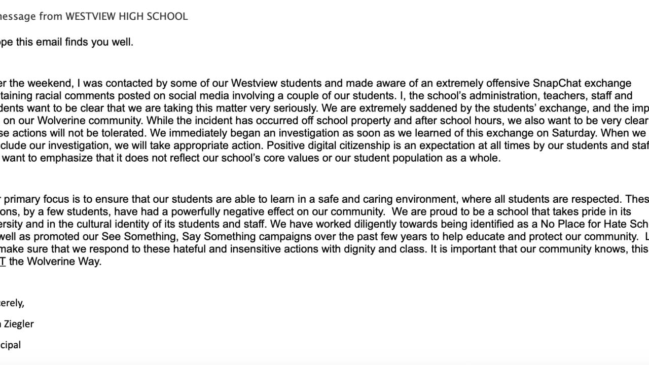 Westview HS principal latter