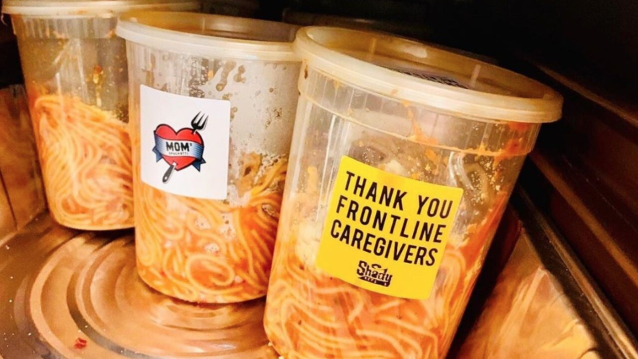 Eminem donates 'mom's spaghetti' to Detroit hospital workers