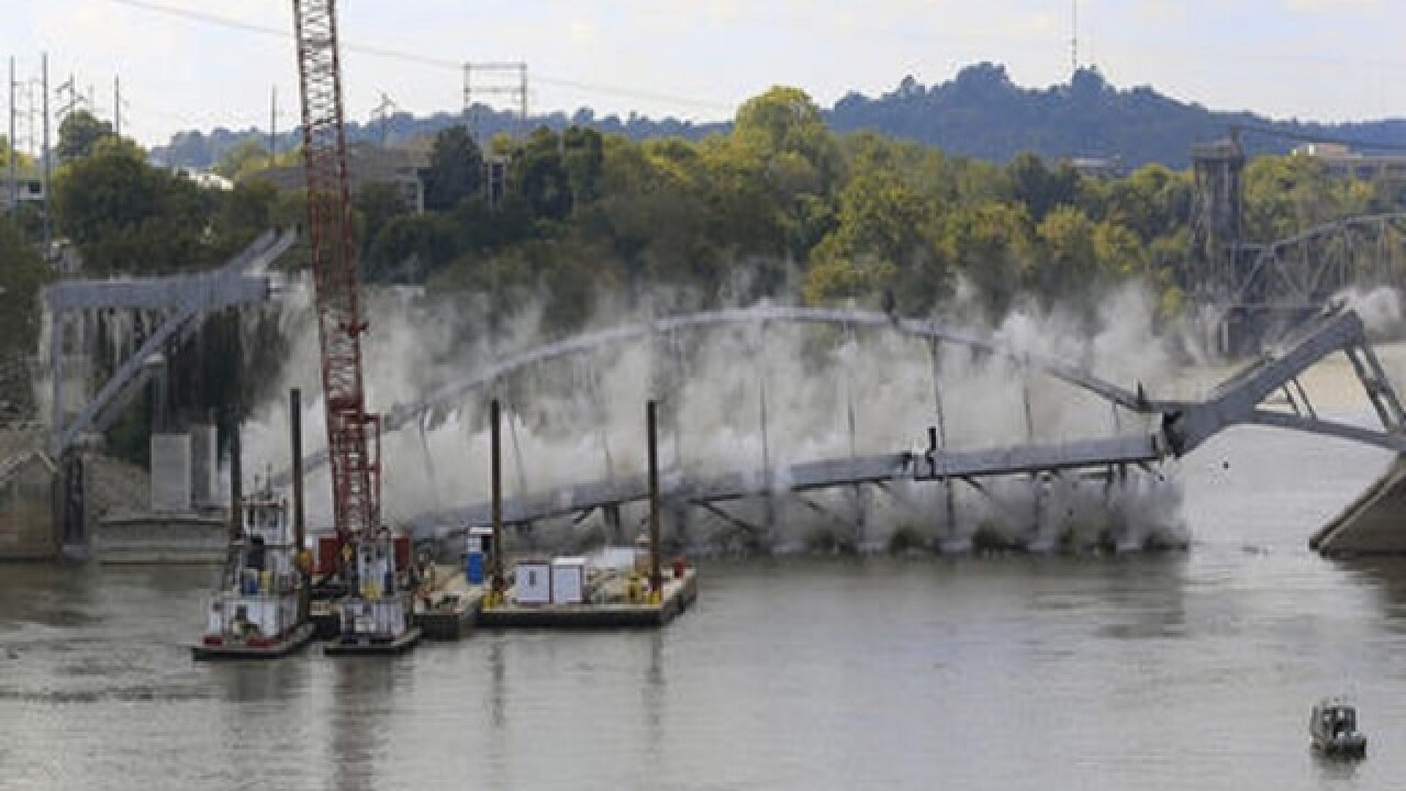 Old Ark. bridge torn down after failed implosion