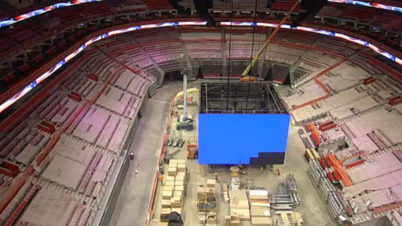 Crews testing world's largest, seamless scoreboard at Detroit's Little Caesars Arena