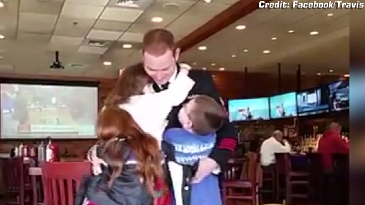 Military dad returns from deployment, surprises kids at Virginia Beach restaurant