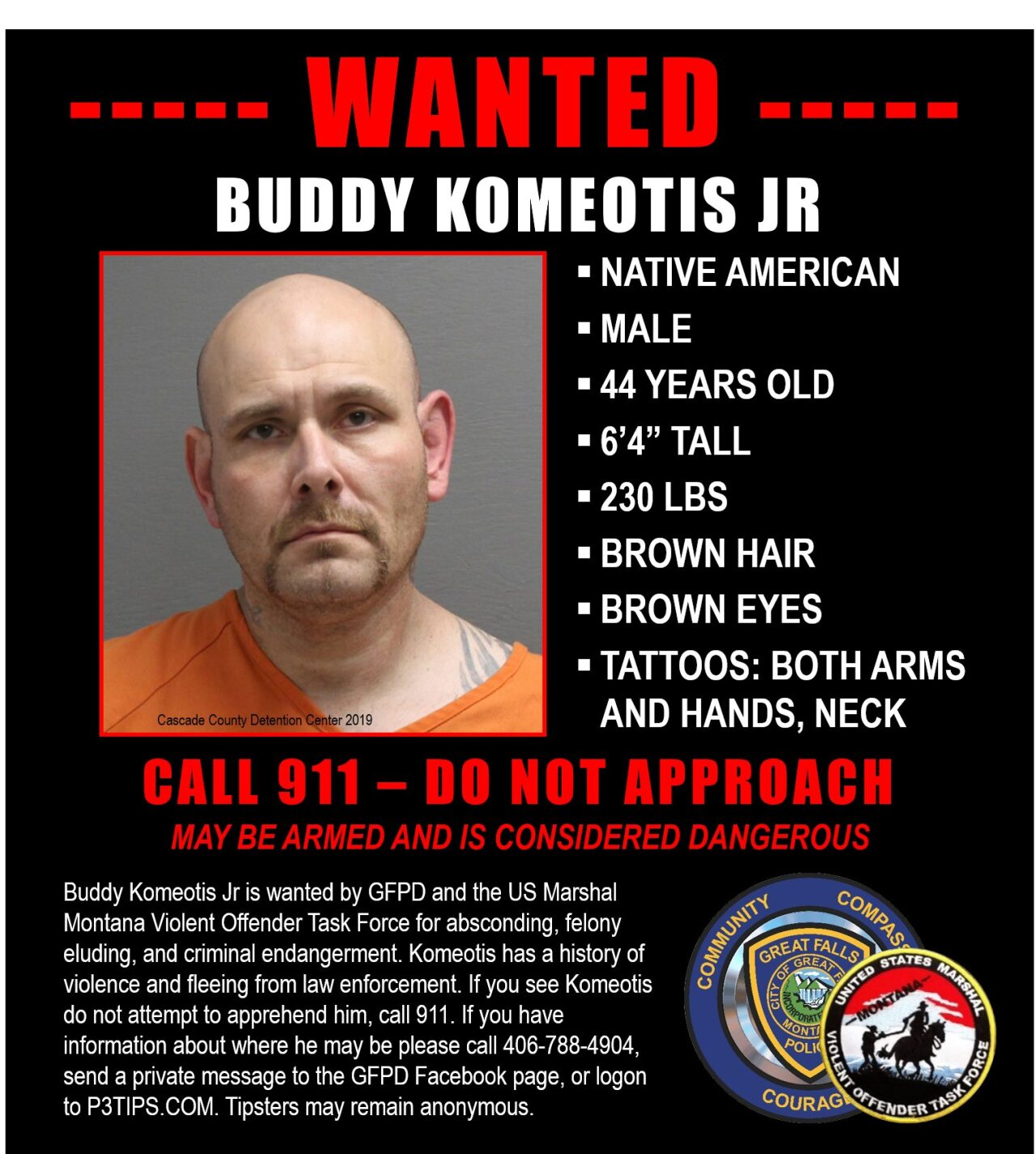 """The Great Falls Police Department has issued an """"attempt to locate"""" alert for Buddy Komeotis, Jr."""