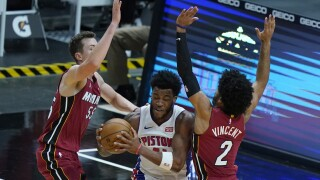 Saddiq Bey, Duncan Robinson, Gabe Vincent Pistons Heat Basketball
