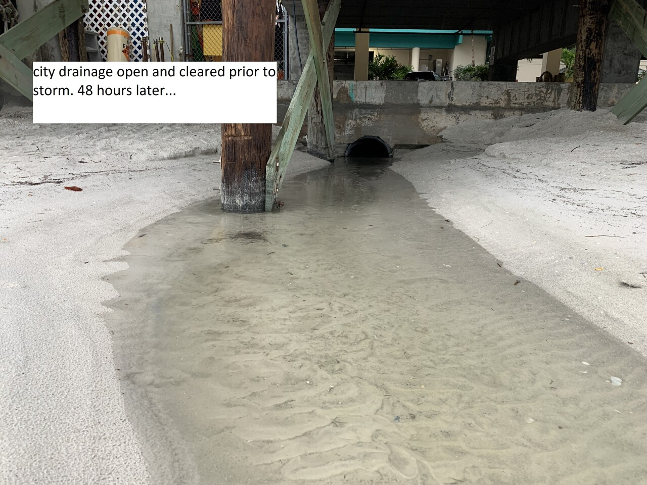 Storm drain at John's Pass on June 5th. Photo taken by Dylan Hubbard of Hubbard's Marina.