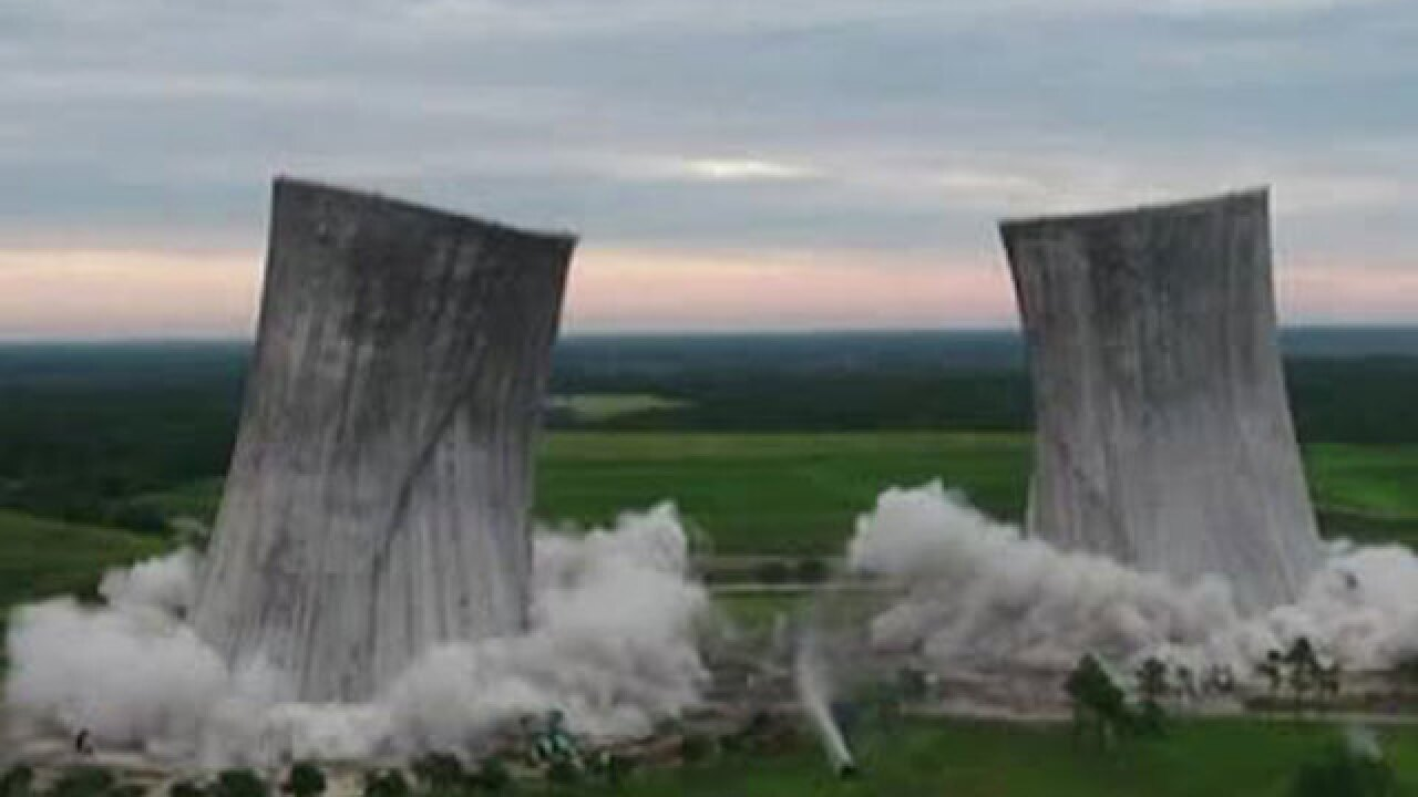 Big implosion brings down two cooling towers at Florida power plant