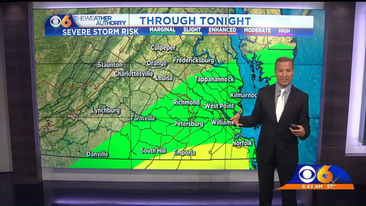 The most likely window for severe storms to arrive inRichmond