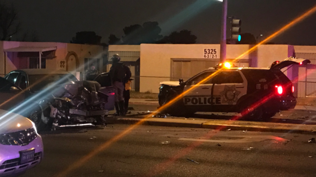 Las Vegas police vehicle involved in crash in the northwest