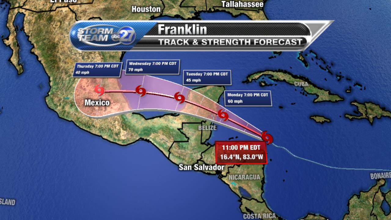 Tropical Storm Franklin Forecast cone, 8/6/2017, pm