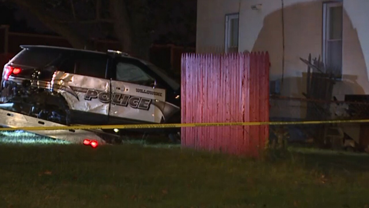 Willowick officer crashes into home after chase
