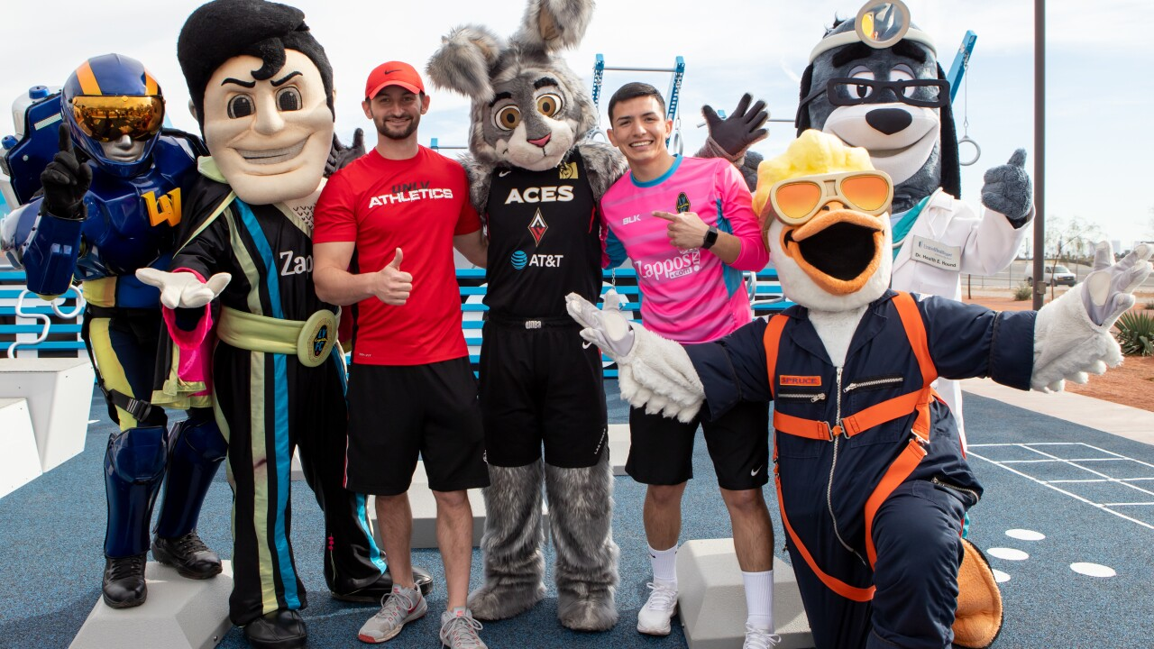 National Fitness Campaign-Las Vegas Fitness Court Unveiling Event and Fitness Challenge with mascots, UNLV Students and Las Vega.JPG