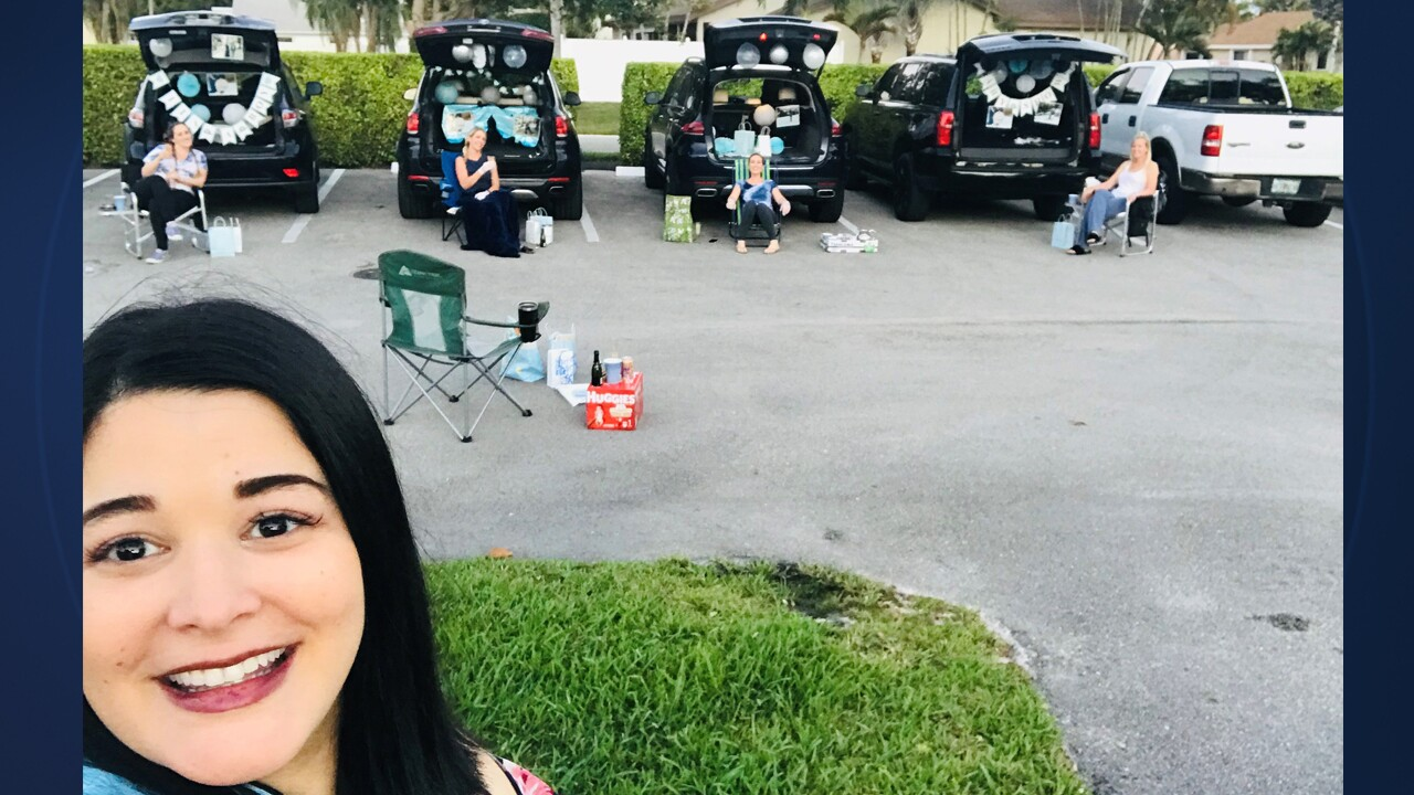 A South Florida woman's friends improvised a bit and threw her a baby shower with ample social distancing after her original one was canceled due to coronavirus.