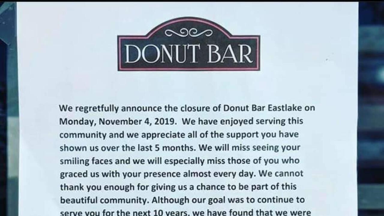 Donut bar closes